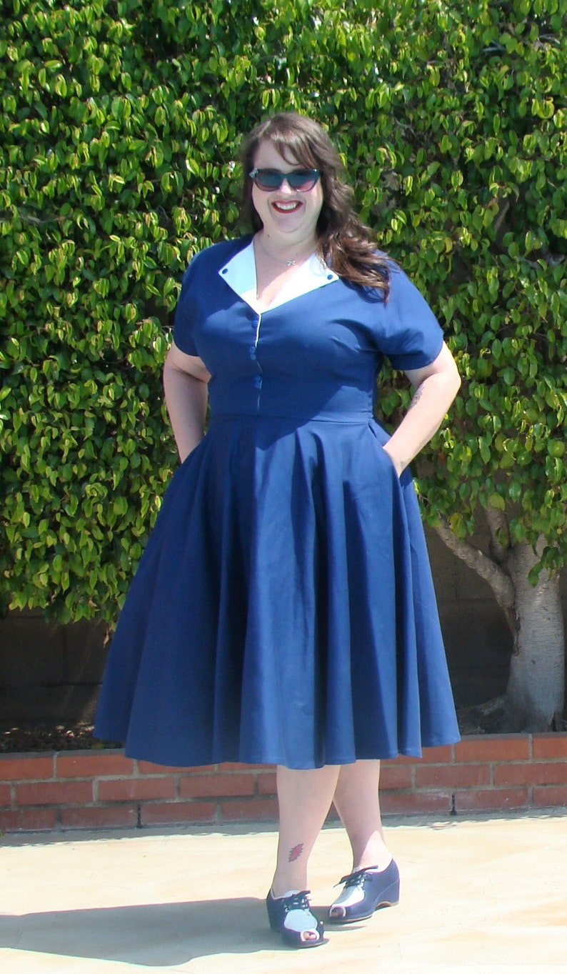 1950s Plus Size Fashion & Clothing History Rhonda/ 1950s dress/ Retro dress/ Shirt dress/ Circle skirt with pockets/ Swing dress/ Made to Order $160.00 AT vintagedancer.com