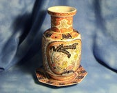 Vintage Chinese Lion Dog Vase with Resting Plate by EKEN - Foo Dog Vase, Free Shipping (182)