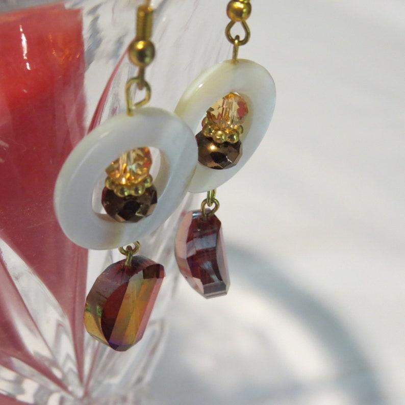 Topaz Dangle Earrings White Shell Drop Earring Handmade Jewelry