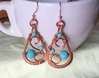 Cooper wire wrapped earrings, Turquoise Howlite earrings, Blue gemstone earrings