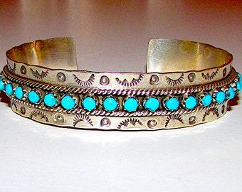 49f7171f71d Zuni Sterling Silver Sleeping Beauty Mine Turquoise Cuff Bracelet