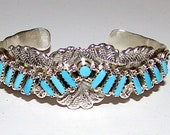 Vintage Zuni Sterling Silver Sleeping Beauty Mine Turquoise Statement Cuff Bracelet Needlepoint Design Old Pawn Native American Jewelry