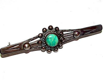 Old Pawn Navajo Sterling Silver Turquoise Fred Harvey Era Brooch Pin