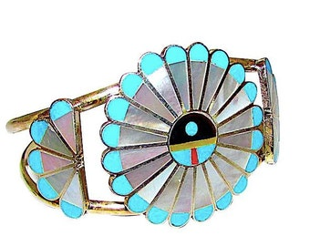 f4a6f6d1e7f Vintage Zuni Sun Face God's Eye Bracelet Sterling Turquoise Mother Of Pearl  by Collectible Adrian Wallace Signed Native American Jewelry