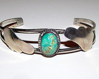475f45f429d Vintage Navajo Sterling Silver Royston Turquoise Cuff Bracelet Squash  Blossom Design Native American Bracelet