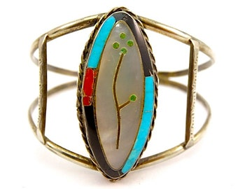 ca3e585cf8c Zuni Sterling Silver Turquoise Coral Mother Of Pearl Inlay Cuff Bracelet  Singed Native American Old Pawn