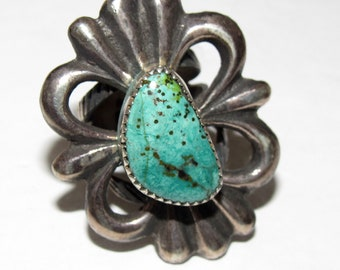 Native American Old Pawn Navajo Sterling Silver Butterfly Green Turquoise Opal Ring Sz 7