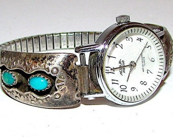a4f39f5e0c92a Vintage Navajo Sterling Silver Turquoise Lady s Watch Adjustable Band with  Watch
