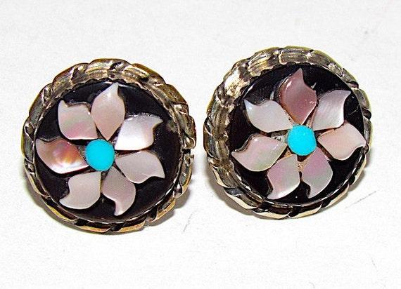 Zuni Flower Earrings Zuni Sterling Silver Turquois
