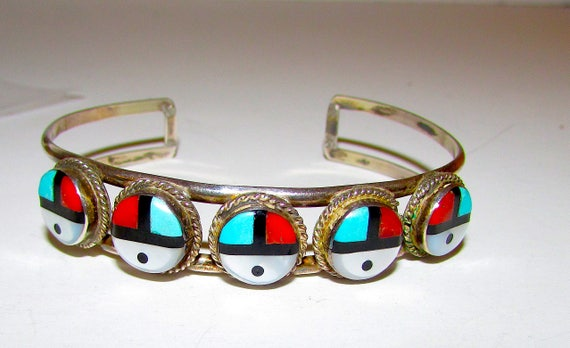 bbe15655962 Old Pawn Zuni Inlay Cuff Bracelet Sterling Turquoise MOP | Etsy