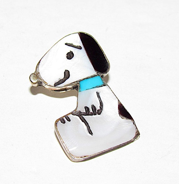 Rare Zuni SNOOPY Peanuts Sterling Silver Inlaid St