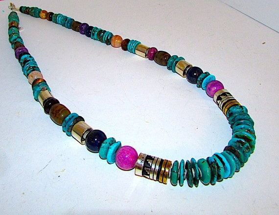 Native American Navajo Tommy Rosita Singer Sterling Silver Gold Turquoise Sugilite Statement Necklace Tribal Design