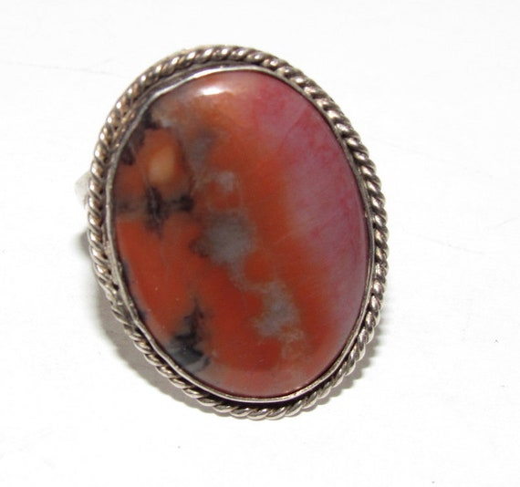 Navajo Petrified Wood Ring Size 7.5 Old Pawn Sterl