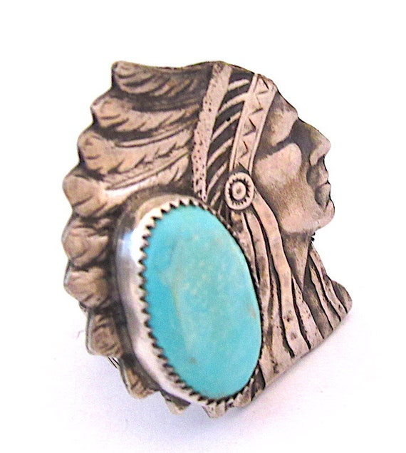 Navajo Indian Chief Ring Size 9 Sterling Silver Tu