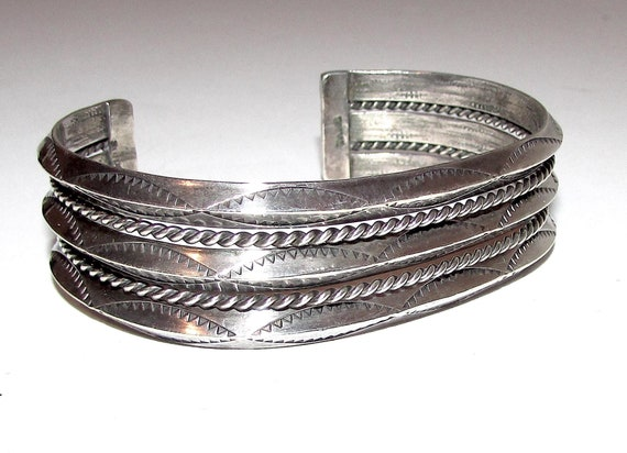 123765815080 Etched Handmade By Navajo Silversmith Nora Tahe Bracelet 925 Sterling Br 1179