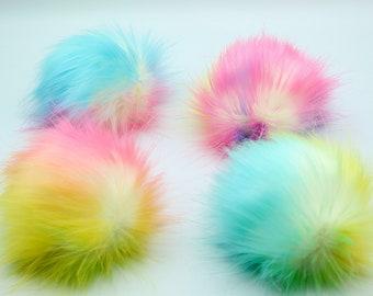Prism, Rainbow faux fur pompom, luxury, handmade, vegan Pom Pom, 4 inch, 5 inch, 6 inch, rainbow pompom, xl, rainbow faux fur pom pom, diy