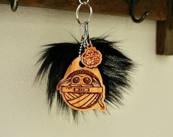 Baby Yo yarn keychain, geeky keyring, faux fur pompom keychain, nerdy keychain, wooden keychain, laser engraved, yarn keychain, fiber