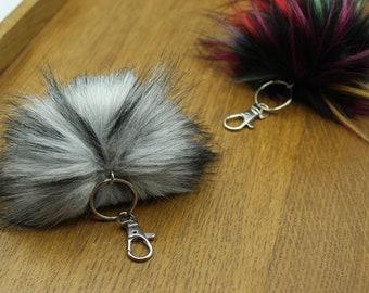 Custom faux fur pompom keychain, faux fur pom pom keychain, handmade, 4-6 inch pompom, vegan, keyring, luxury faux fur pompom keyring,