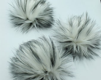 Cookies and Cream, Limited,  Luxury Faux fur pompom , faux fur pompom square, 4 inch, 5 inch, white with black tips faux fur pom pom