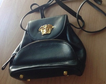 b6b4947d0d1b Very Rare Mini Gianni Versace Italian Black Later Purse With Gold Medusa
