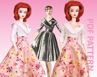 """Dressed to Impress sewing pattern for 12"""" fashion dolls"""