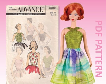 """Classic Halter sewing pattern for 12"""" fashion dolls"""