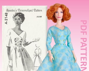 """Buttoned Up pdf sewing pattern for 12"""" fashion dolls"""