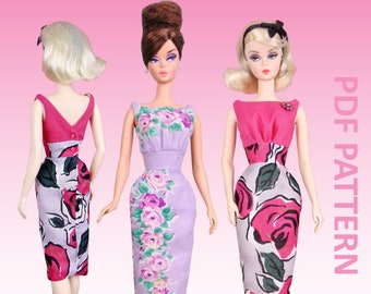 "Boat Neck Sheath sewing pattern for 12"" fashion dolls"