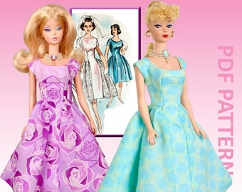 """Mid-Century Classic sewing pattern for 12"""" fashion dolls"""