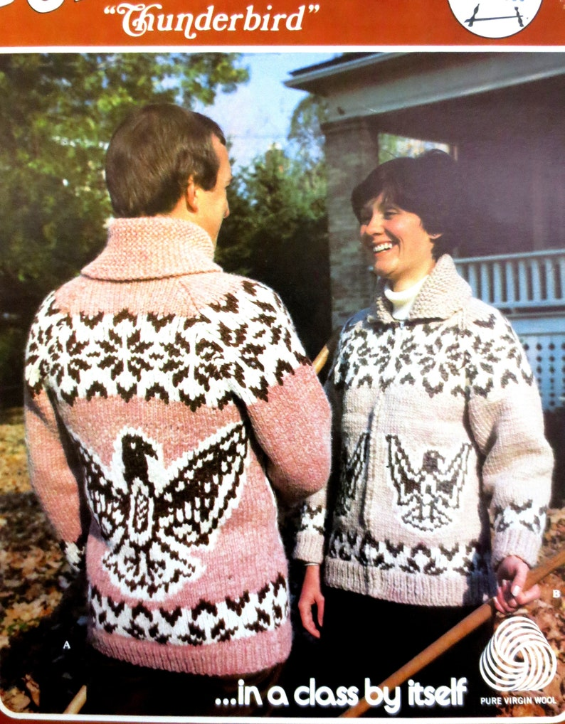 1355cf5b377 Cowichan Style Sweater Coat Knitting Pattern PDF Sizes