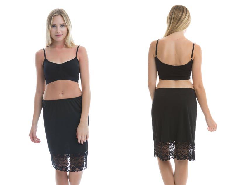 713ba24e96fa Basic Black Lace Dress Extender Slip | Etsy