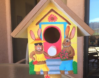 Whimsical Hand Made ~ Hand Painted Birdhouse on Pedestal With Bunny Rabbit Sweathearts