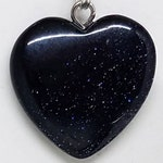 "Blue Goldstone Healing Small Crystal Heart Pendant Necklace (0.79 Inch) on 18"" 925 Silver Plated Snake Chain w Lobster Claw Clasp"