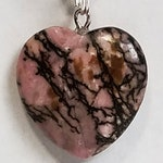 "Rhodonite Healing Small Crystal Heart Pendant Necklace (0.79 Inch) on 18"" 925 Silver Plated Snake Chain w Lobster Claw Clasp"