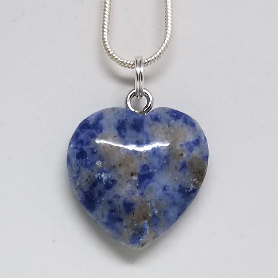"""Crystal Heart Pendant Necklace 18/"""" Sodalite Small Heart Necklace"""