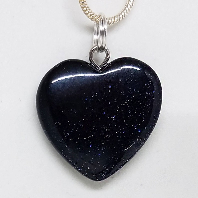 Blue Goldstone Healing Small Crystal Heart Pendant Necklace image 0