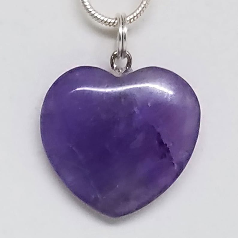 Amethyst Healing Small Crystal Heart Pendant Necklace 0.79 image 0