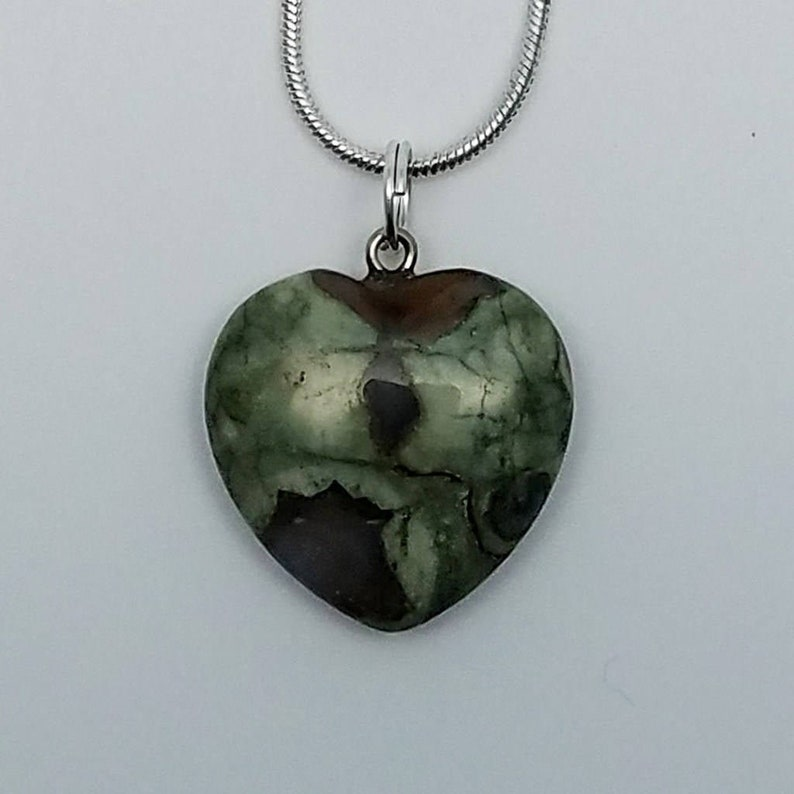 Rainforest Jasper Healing Small Crystal Heart Pendant Necklace image 0