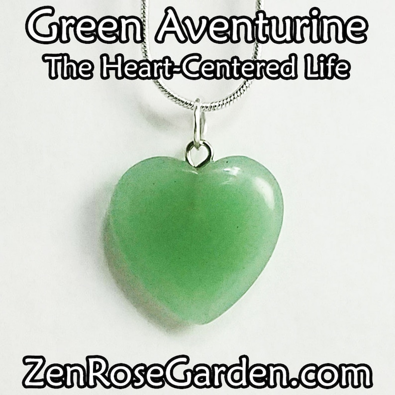 Green Aventurine Healing Small Crystal Heart Pendant Necklace image 0