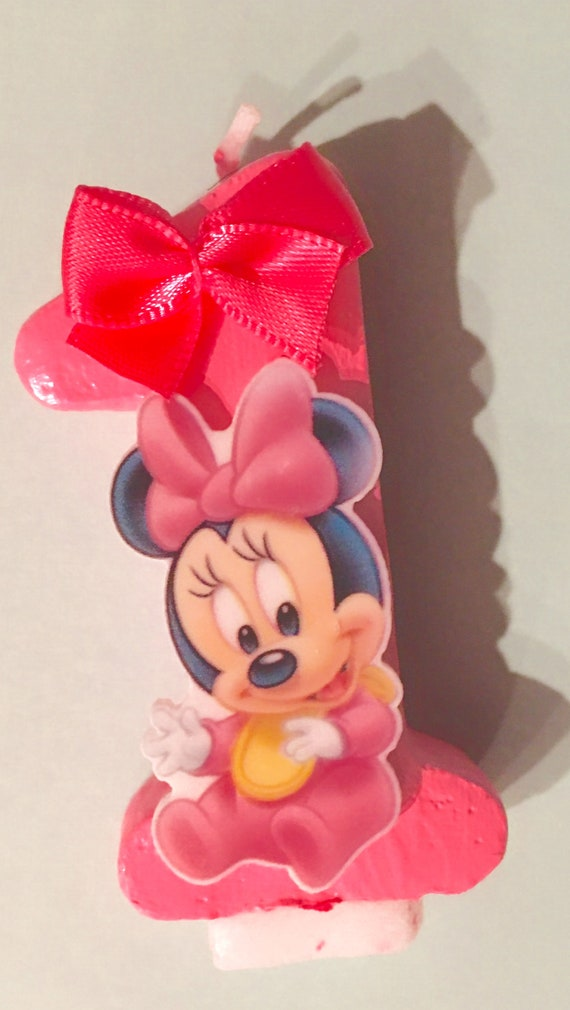 Marvelous Minnie Mouse Birthday Candle First Birthday Birthday Cake Etsy Funny Birthday Cards Online Alyptdamsfinfo