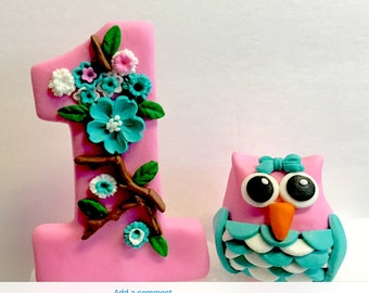 Owl and Number 1 fondant cake topper is so cute. Can change color. first birthday. Baby Shower, Birthdays, Baptism, Cake Topper