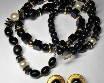 Four Piece Lot of Costume Jewelry - Black with Gold Accents - Two Necklaces and Pair of Earrings