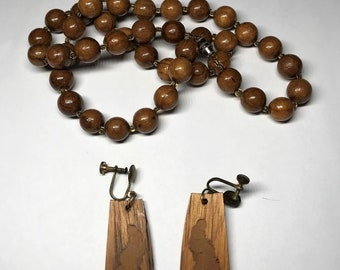 Three Piece Lot of Costume Jewelry - Wooden Necklace and Pair of Earrings