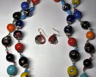 Lot of Costume Jewelry - Set of Red Earrings and a Glass Necklace