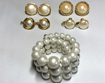 Five Piece Lot of Costume Jewelry - Faux Pearl Bracelet and Four Earring Sets