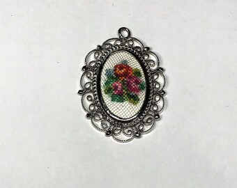 Small Needlepoint/Cross-stitch Embroidered Pendant with Floral Design