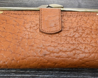 Vintage Ladies Purse Brown Purse Money Purse Made in Britain Real Leather Compartments