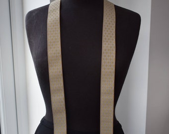 Mens Braces Vintage Made in England BEIGE GOLD DIAMONDS Gold Tone Suspenders Braces Menswear