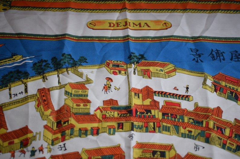 Vintage headscarf DEJIMA Japan Dutch Trading Post Nedlloyd Shipping Company  Collectable Scarf Made in France