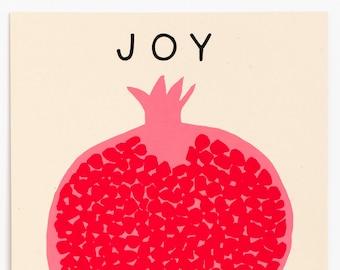 Joy Now Print- Small Wall Art- Screenprint, Pomegranate Wall Art, Minimalist Wall Art, Minimalist Art Print, Minimalist Art Small, Fruit